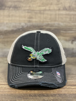 front of Throwback Philadelphia eagles Trucker dad hat | Distressed mesh back Retro Otc | 9Twenty 920 dad hat