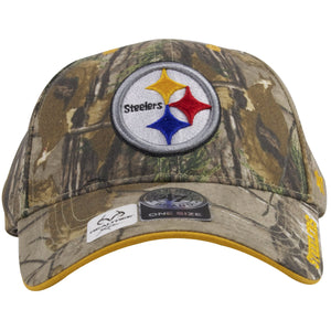 The front of this Pittsburgh Steelers Realtree dad hat has the Steelers logo heavily embroidered in white, red, blue and red.