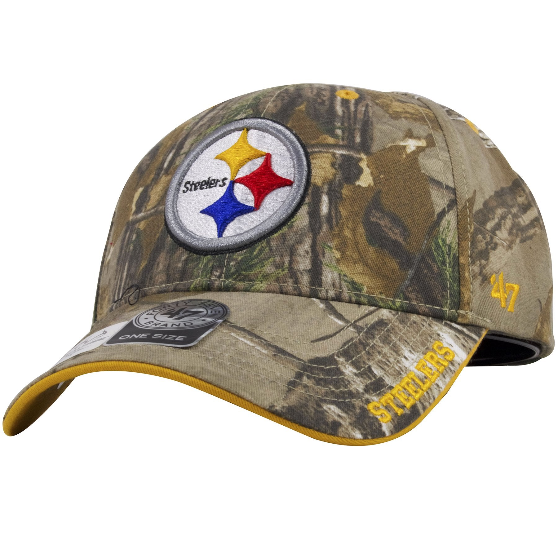 ... dad hat has the Steelers logo heavily embroidered in  The Steelers word  mark can be seen on the left side of the bill of this ... 2dd0f492dd7c