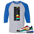 Nike Air Max 270 React Bauhaus Sneaker Hook Up Summer Love Sports Grey and Royal Blue Raglan T-Shirt