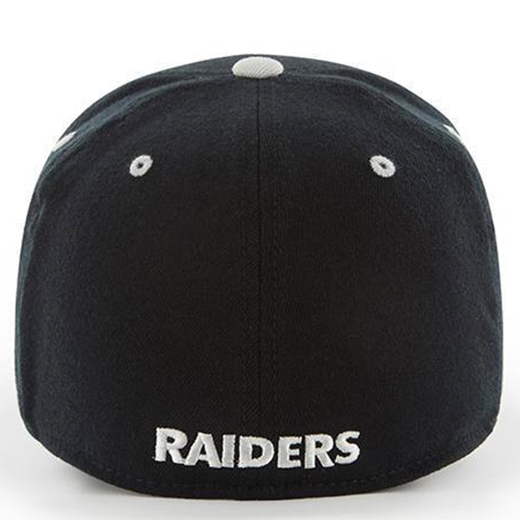 ... Embroidered on the back of the Oakland Raiders one size fits all stretch  fit cap is 9df75162963