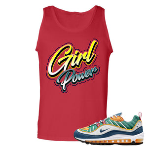 Nike WMNS Air Max 98 Multicolor Sneaker Hook Up Girl Power Red Mens Tank Top