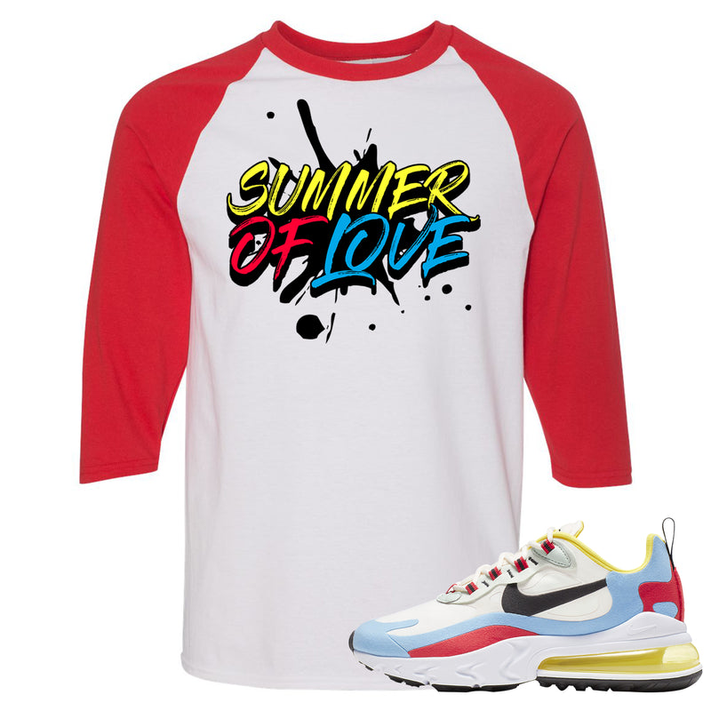Nike WMNS Air Max 270 React Bauhaus Sneaker Hook Up Summer of Love White and Red Raglan T-Shirt