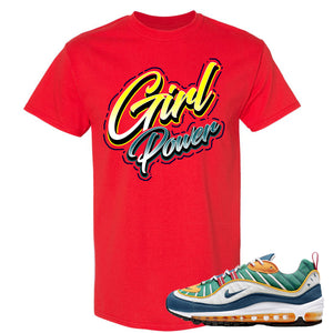Nike WMNS Air Max 98 Multicolor Sneaker Hook Up Girl Power Red T-Shirt