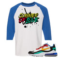 Nike Air Max 270 React Bauhaus Sneaker Hook Up Summer of Love White and Royal Blue Raglan T-Shirt