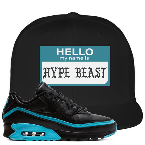 Undefeated x Nike Air Max 90 Black Blue Fury Hello My Name is Hype Beast Black Sneaker Matching Snapback Hat