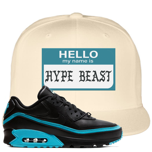 Undefeated x Nike Air Max 90 Black Blue Fury Hello My Name is Hype Beast White Sneaker Matching Snapback Hat