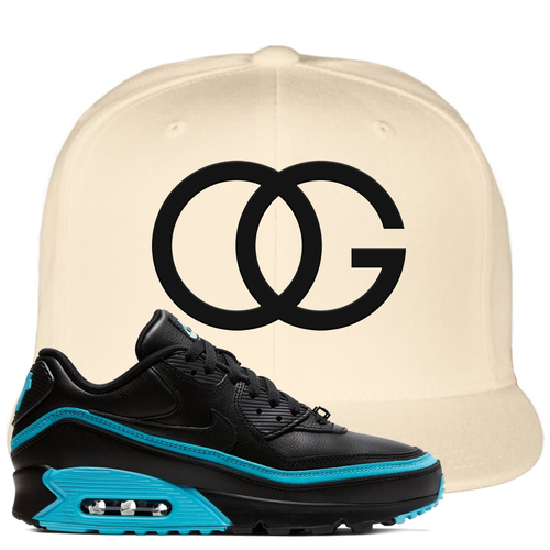 Undefeated x Nike Air Max 90 Black Blue Fury OG White Sneaker Matching Snapback Hat