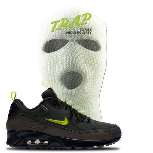 The Basement X Nike Air Max 90 Manchester Trap to Rise Above Poverty White Sneaker Matching Ski Mask