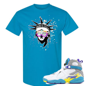 Air Jordan 8 WMNS White Aqua Sneaker Hook Up Liberty Head Sapphire T-Shirt