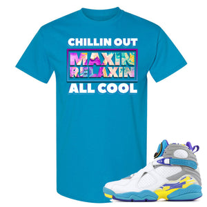 Air Jordan 8 WMNS White Aqua Sneaker Hook Up Chillin Out Maxin Relaxin All Cool Sapphire T-Shirt