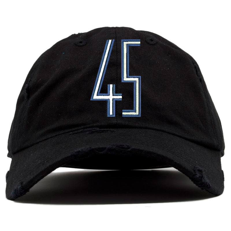 on the front of the space jam squad distressed dad hat there is a blue and white jordan 45 logo embroidered on the front