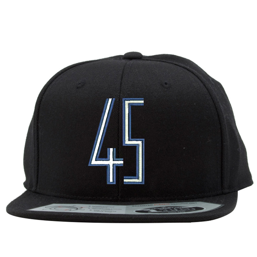 89d50de6ed2002 the space jam 45 snapback hat has a blue and white jordan 45 logo  embroidered on