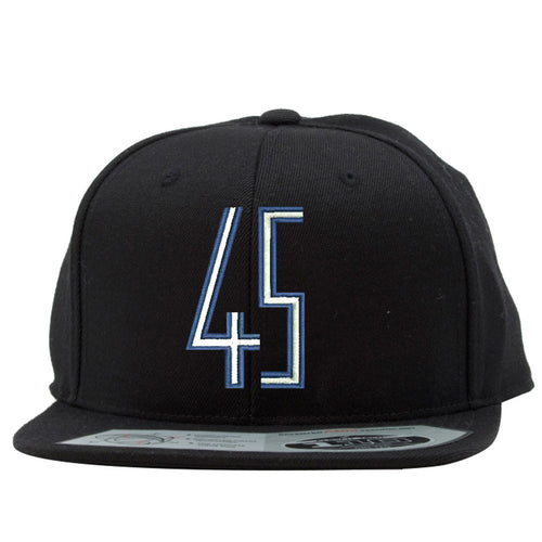 the space jam 45 snapback hat has a blue and white jordan 45 logo embroidered on the front