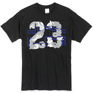 the space jam 23 x 45 t-shirt is solid black with a 23 x 45 logo printed on the front to match the space jam 11 jordan sneakers