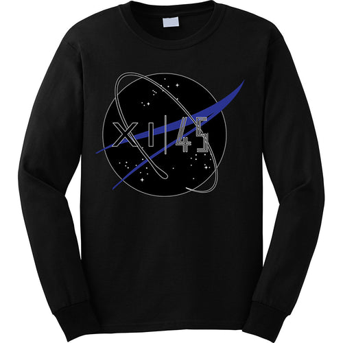 the long sleeve nasa space jam 11 matching t-shirt is custom made to match the jordan space jam 11s