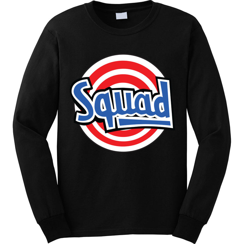 the squad long sleeve tee is custom made to match the space jam 11 sneakers