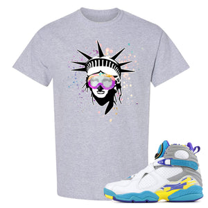 Air Jordan 8 WMNS White Aqua Sneaker Hook Up Liberty Head Sport Grey T-Shirt