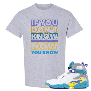Air Jordan 8 WMNS White Aqua Sneaker Hook Up If You Don't Know Now You Know Sport Grey T-Shirt