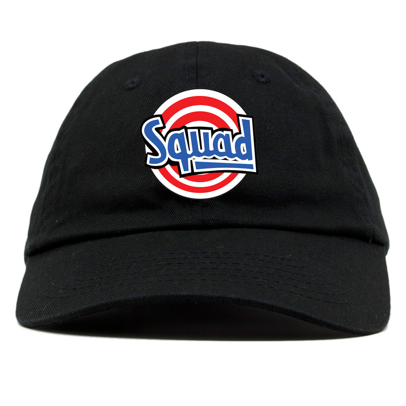 on the front of the space jam tune squad black dad hat, the squad logo is embroidered in red, white, and blue