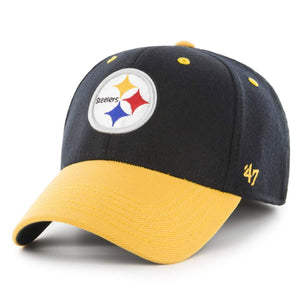 Embroidered on the front of the Pittsburgh Steelers one size fits all stretch fit cap is the Steelers logo in white, yellow, red, blue, and black