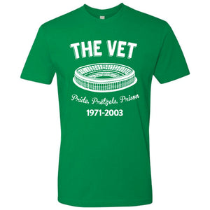 On the front of the vintage philadelphia football the vet kelly green veterans stadium t-shirt is the vet logo and the years that the stadium was in operation