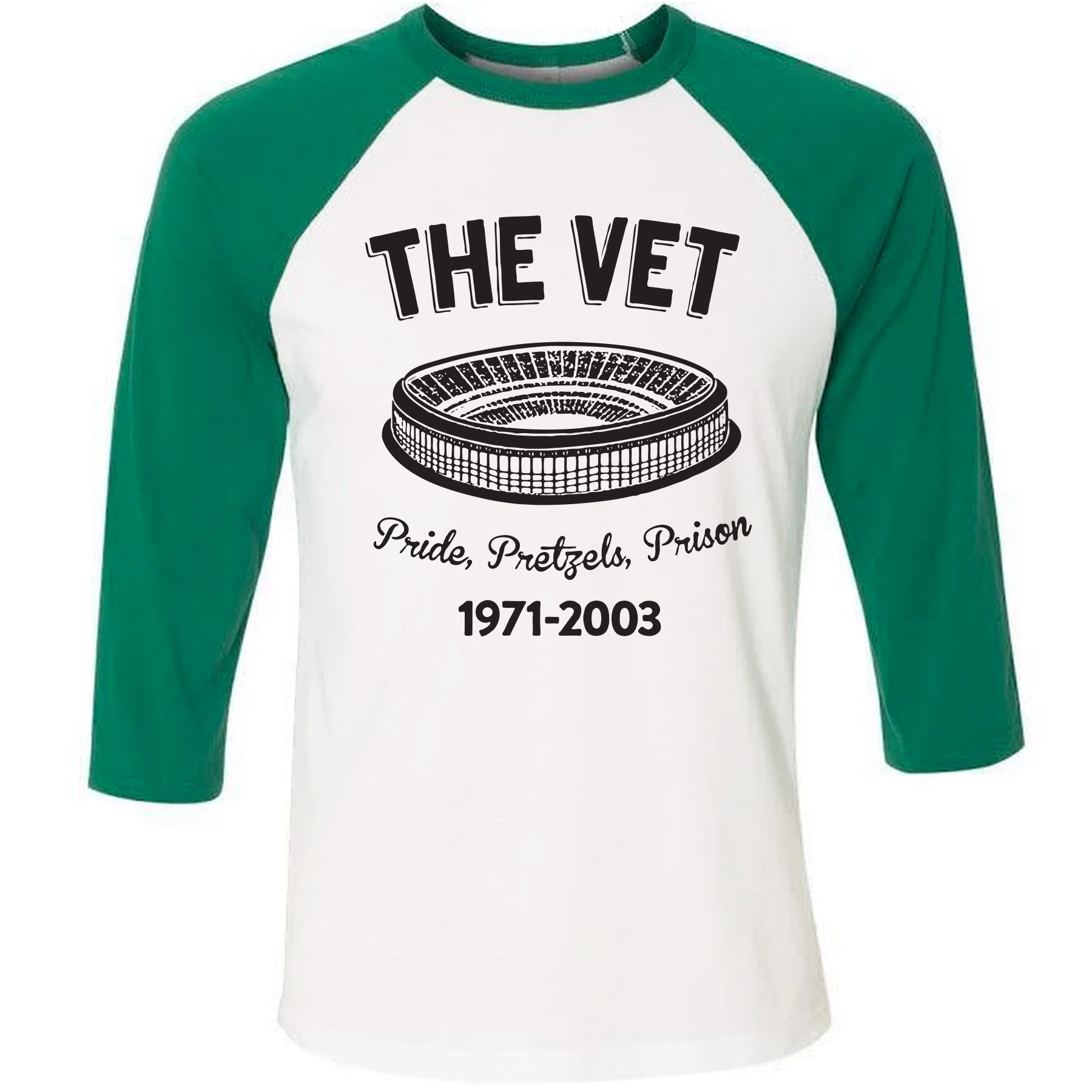 On the front of the veteran s stadium pride pretzels prison 3 4 sleeve  baseball tee fd2b3030a