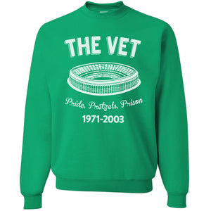 Printed on the front of the kelly green veteran's stadium vintage pride pretzels prison crewneck sweatshirt has the vet printed in white