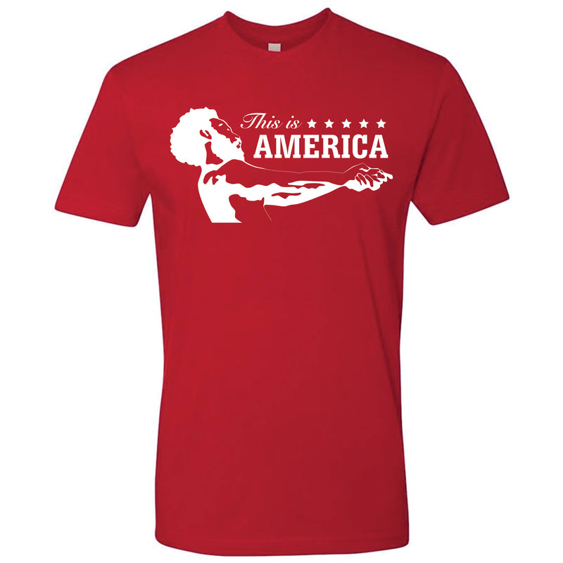 125014e80d63 on the front of the childish gambino inspired this is america t-shirt is the