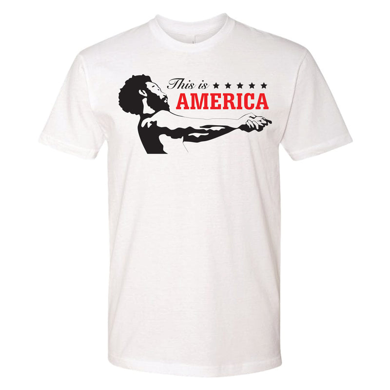 4c7e253b6c69 on the front of the This Is America Childish Gambino Music Video inspired white  t-