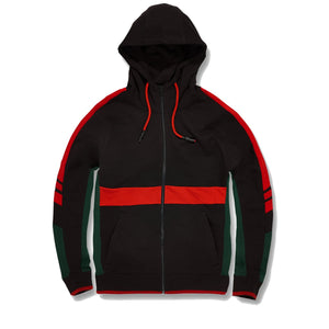 the hooded black green and red track jacket is solid black with green and red accents inspired by the italian fashion brand