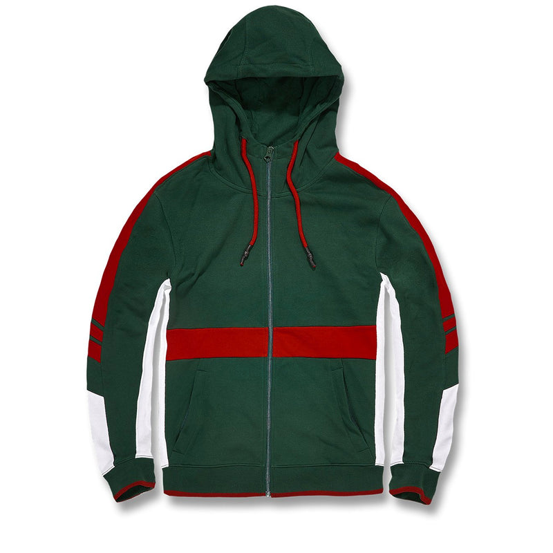 the green and red snake and bees gucci colorway inspired track suit is green, white, and red
