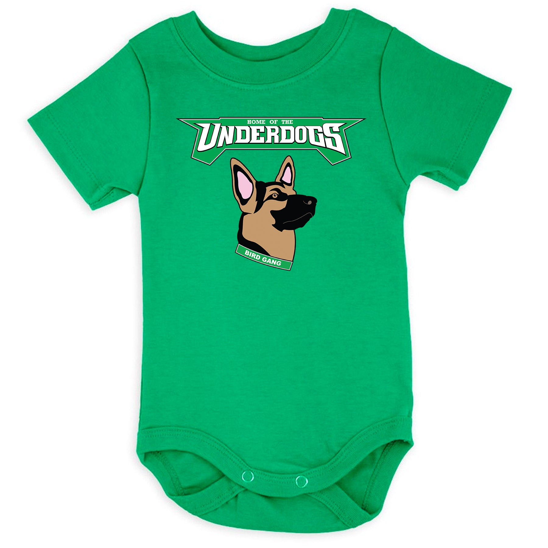 062f8733f the kelly green underdog onesie has the underdogs eagles logo printed on  the front of a
