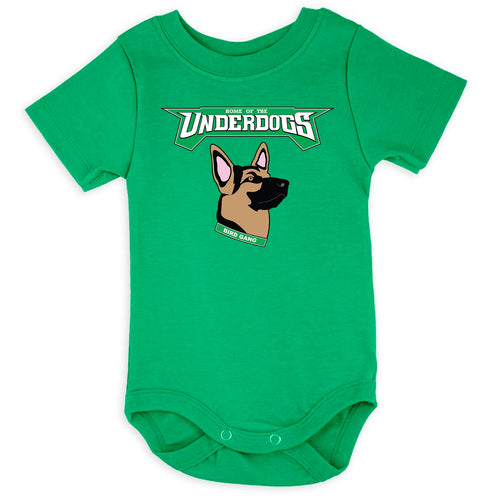 the kelly green underdog onesie has the underdogs eagles logo printed on the front of a solid kelly green onesie