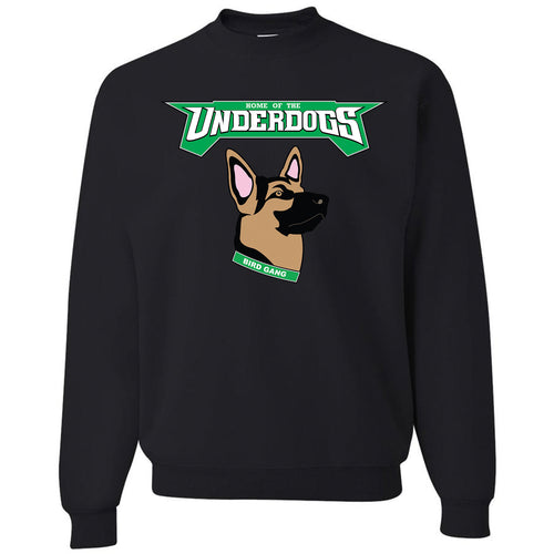 on the front of the underdogs black crew neck sweatshirt is the underdog logo in kelly green, brown, black and pink