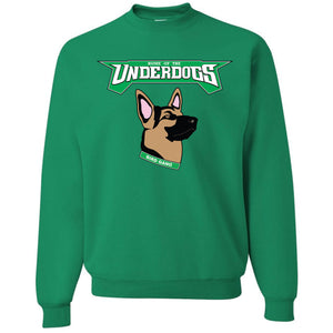 on the front of the kelly green philadelphia eagles underdog crewneck sweater is the word underdogs in kelly green above the brown, black and pink german shepherd mask logo