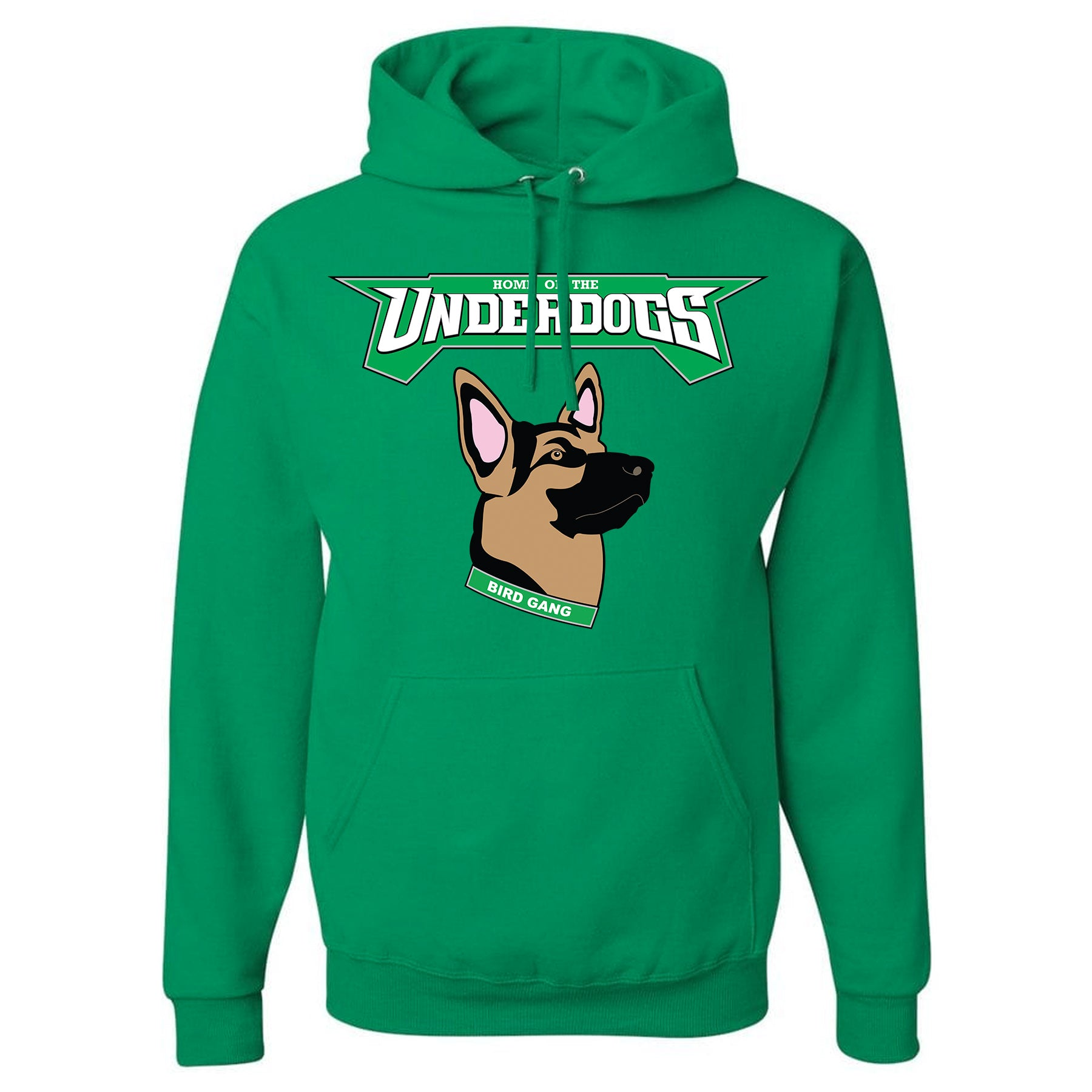 518fab80acb on the front of the kelly green philadelphia eagles underdog hoodie is the  underdogs lettering in