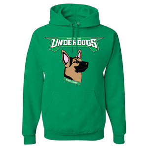 on the front of the kelly green philadelphia eagles underdog hoodie is the underdogs lettering in kelly green and white and the german shepherd mask