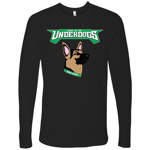on the front of the philadelphia eagles underdog inspired longsleeve t-shirt is the philadelphia eagles underdogs lettering in kelly green and white above a german shepherd mask inspired logo