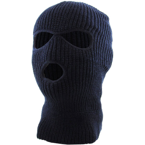 the navy blue three hole ski mask is solid navy blue with two eye-holes and a mouth hole