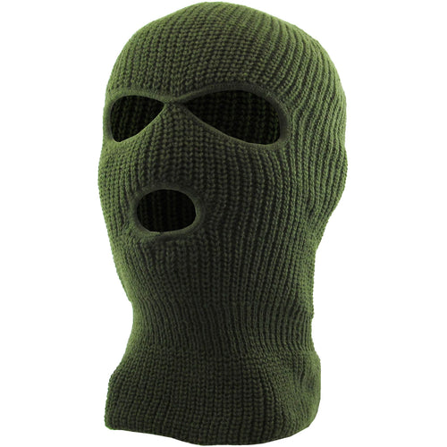 the olive three hole ski mask is olive with two eye holes and a mouth hole