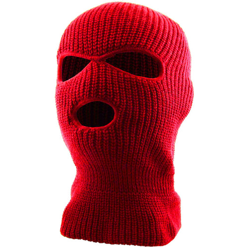 the red three hole ski mask is solid red with 3 holes