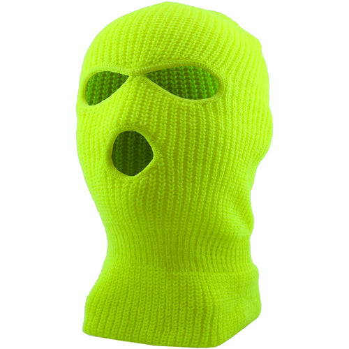 the high visisiblity safety green ski mask has 2 eye holes and 1 mouth hole