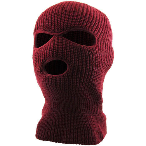 the burgundy 3 hole ski mask is solid maroon with 2 eye-holes and one mouth hole