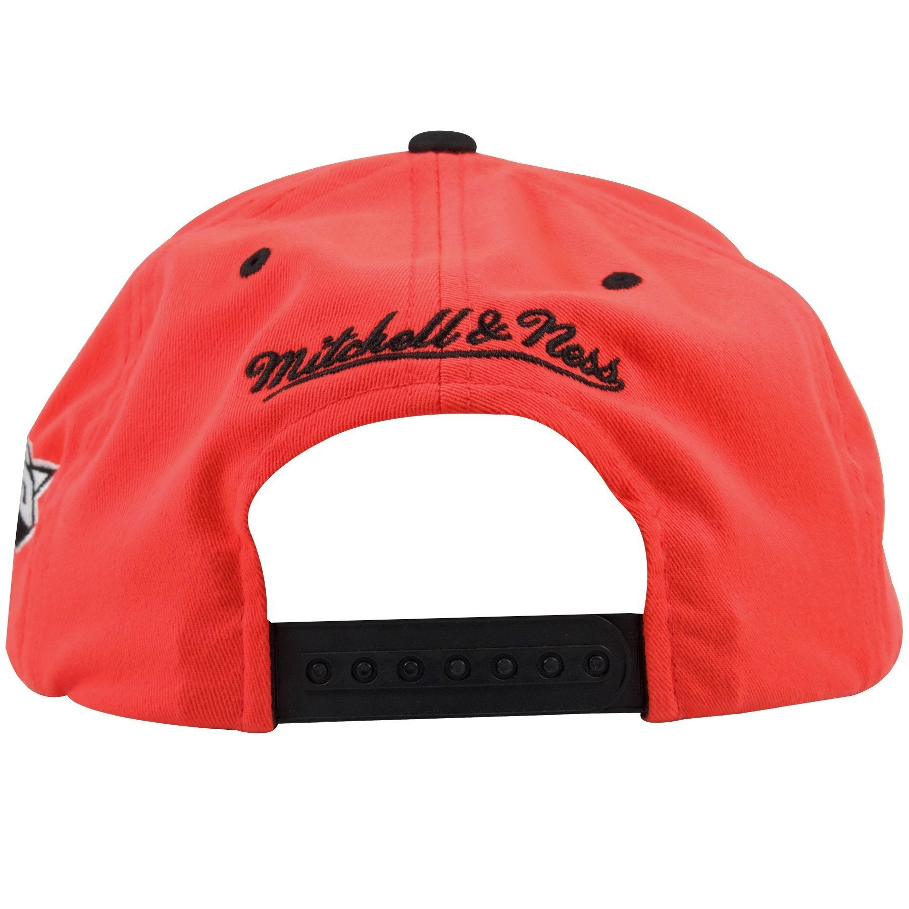 fd3127444c6 ... The back of this New York Knicks Mitchell and Ness Snapback hat shows  the Mitchell and ...