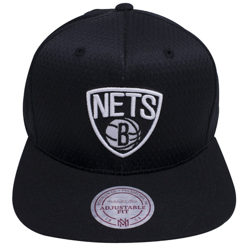 1070d7eed7846 on the front of the brooklyn nets black mesh jersey snapback hat is the brooklyn  nets