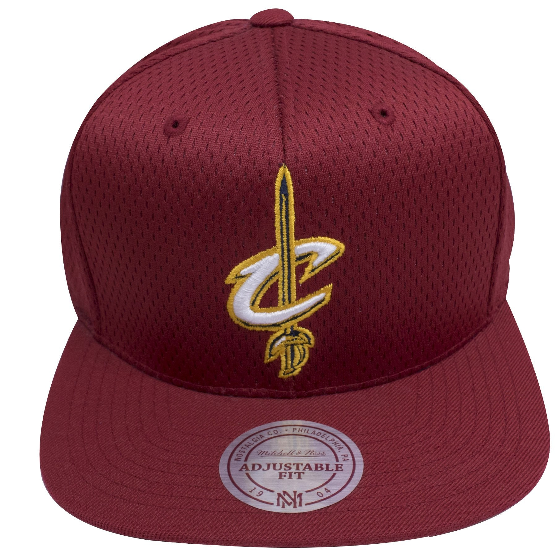 cc65622b056 on the front of the Cleveland Cavaliers maroon mesh jersey snap back hat has  a Cleveland