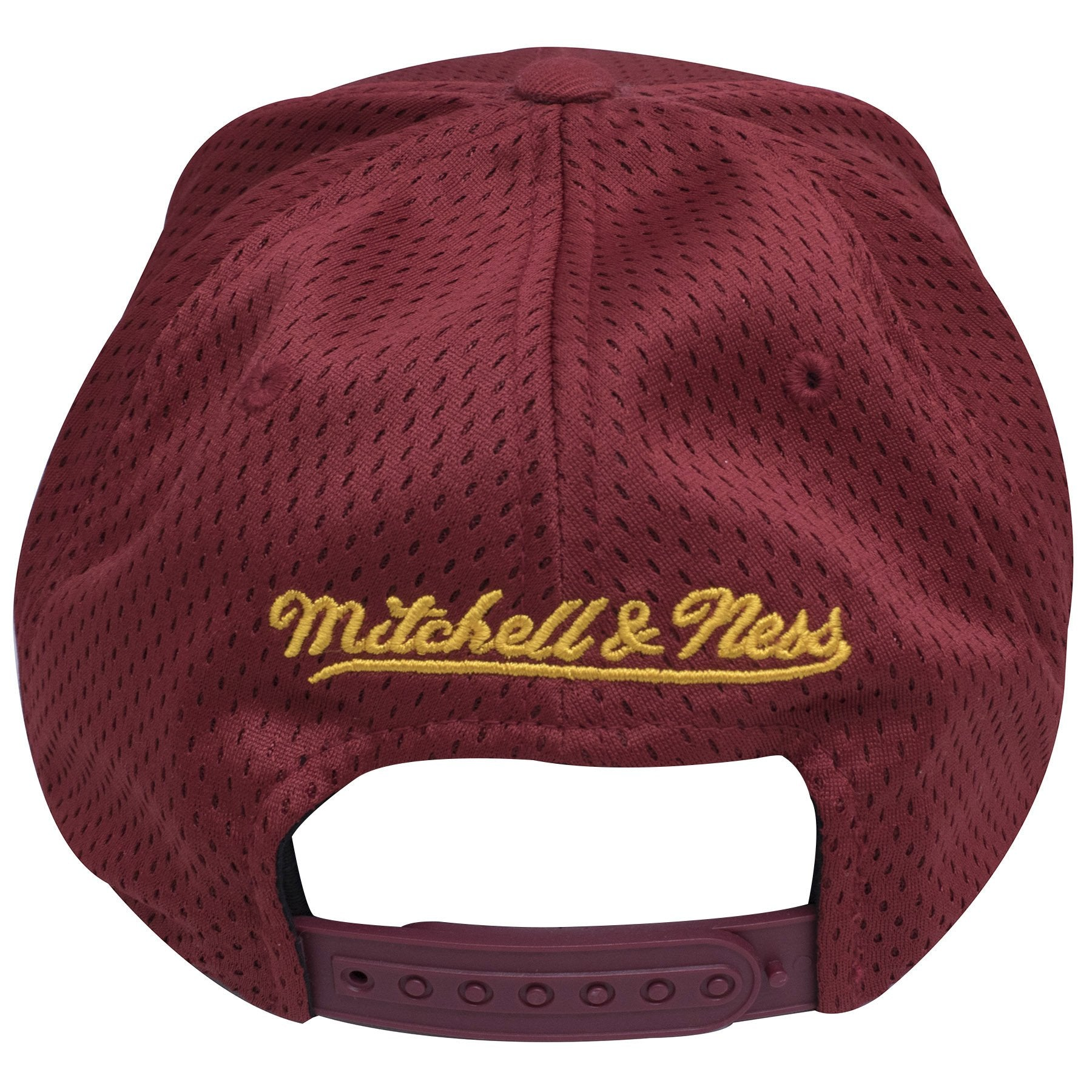 4a7af0b7f88 ... has a Cleveland  on the back of the Cleveland Cavaliers Maroon Mesh  Jersey snapback hat is a Mitchell and ...
