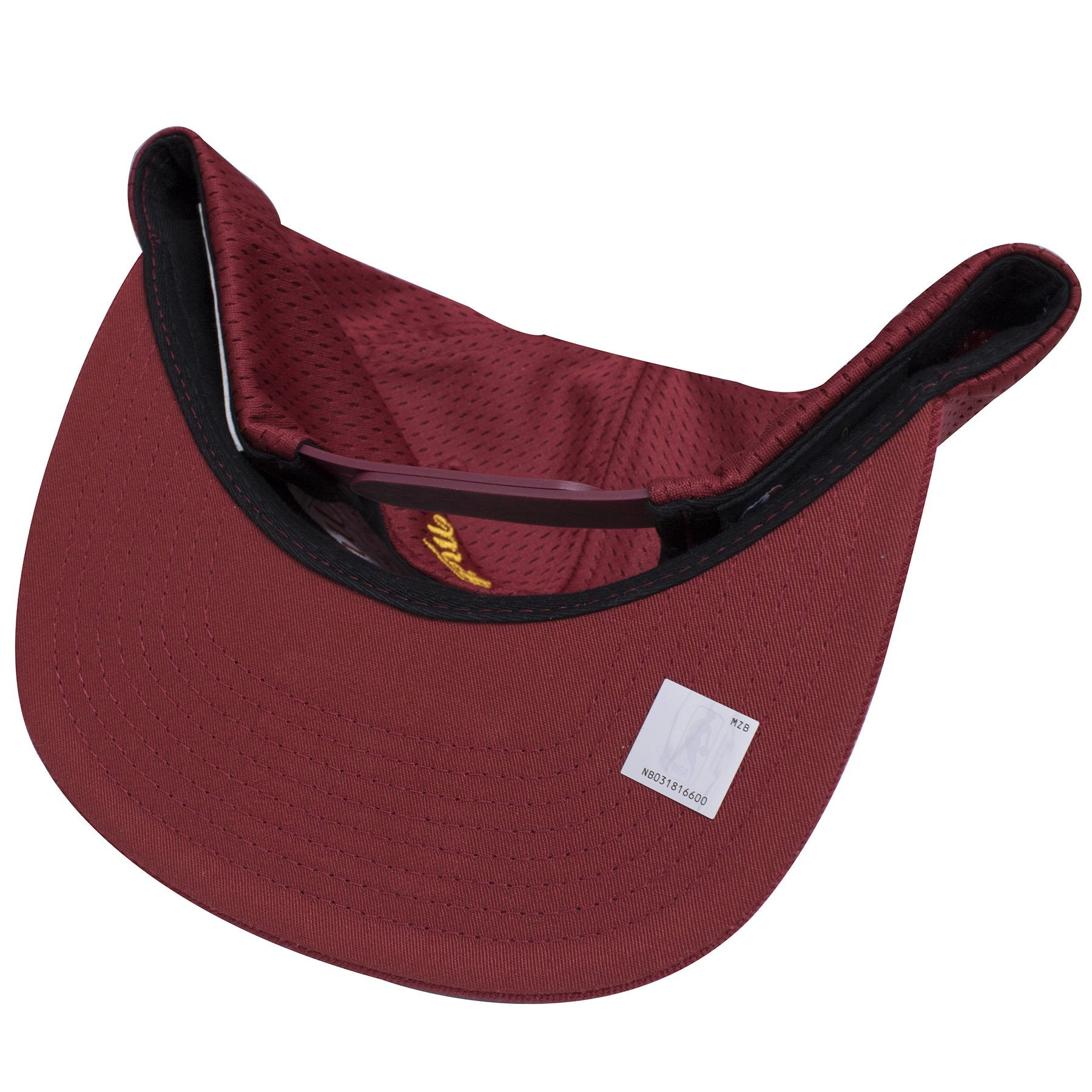 a091e0bb337 ... the under brim of the maroon cleveland cavaliers mesh jersey snapback  hat is maroon