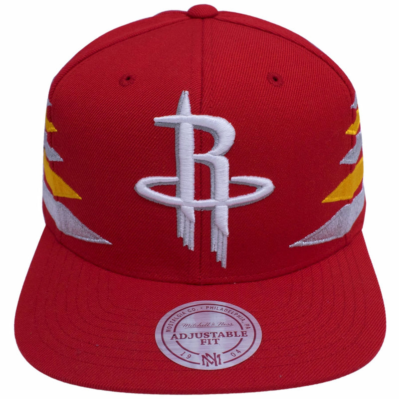 the houston rockets diamond spikes dad hat is solid red with a houston rockets logo embroidered in white on the front